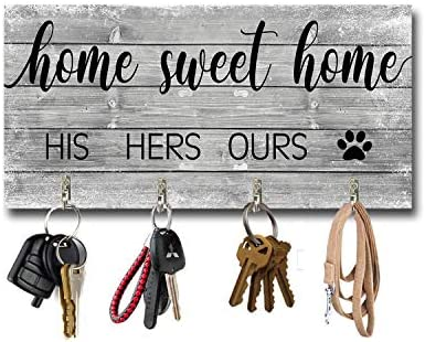 BEROSS Key Holder for Wall Entryway Rustic Wall Mount Key Hangers with 4 Hooks His Her Our Dog product image