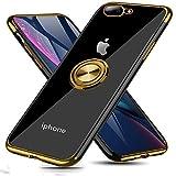 iPhone7plus ケース/iPhone8plus ケース リング付き クリア メッキ加工 ケース 7p ケース ストラップホール付き 耐衝撃 360度回転 落下防止 メッキ マグネット式 車載ホルダー対応 アイフォン Xr ケース透明 TPUシリコン 全面保護 軽量 薄型 携帯カバー MJJ-SJ-1039-2-6