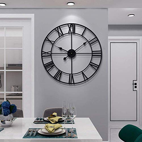 Large Modern Metal Wall Clocks Rustic Round Silent Non...