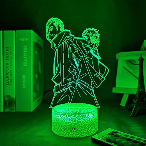 Lámpara de ilusión 3D Anime Niño Dormitorio Decoración Luz de Noche (Alimentado por USB 16 Colores con Remote)-DFDFDF - Tokyo Revengers Mikey and Draken