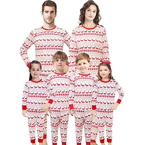 Holeider Familie Outfit Weihnachten Pyjama Vater Mutter Kind Elk Kostüm Set Langarm Tops Und Hose Weihnachts Schlafanzug Familie Weihnachten Nachtwäsche Baumwolle Weihnachtskostüm