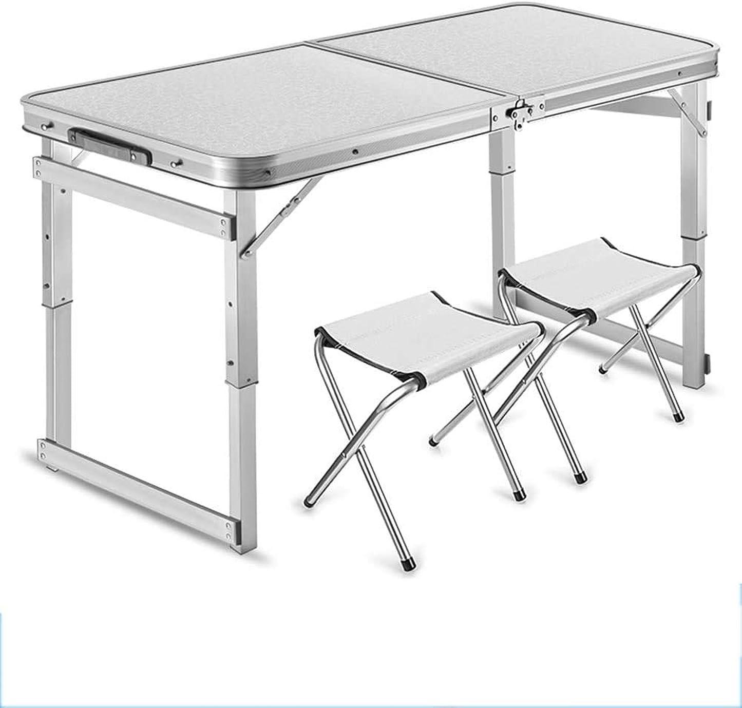脱獄ホイッスル煩わしいハイチェア セットのアルミニウム折るテーブルの椅子、屋外の屋内使用を食事する党ピクニックのために調節可能な携帯用キャンプテーブルの軽量の折りたたみ式テーブルの高さ,Silver,B