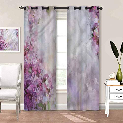 painting-home Curtain Flower, Watercolor Style Leaf Bloom Heat and Full Light Blocking Drapes for Guest & Living Room W72 x L72 Inch