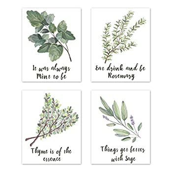 Wall Art Home Funny Inspirational Puns Prints Signs Room Decor - for Kitchen and Dining Decorations – Botanical Vegetable Herbs Spices Plant Garden  Set of 4  Unframed 8 x 10 inches Green