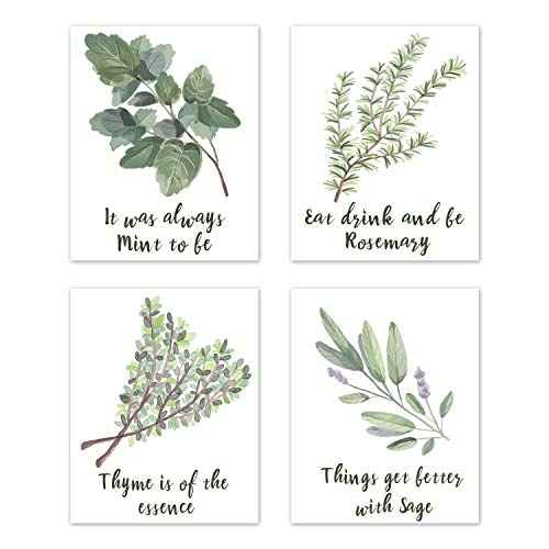 Wall Art Home Funny Inspirational Puns Prints Signs Room Decor - for Kitchen and Dining Decorations – Botanical Herbs Spices Plant Garden (Set of 4) Unframed 8 x 10 inches Green