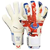 Renegade GK Limited Edition Rogue Patriot UK Goalie Gloves with Finger Spines | 4mm Giga Grip | Red, White, Blue Soccer Goalkeeper Gloves (Size 7, Youth, Neg. Cut, Level 4+)