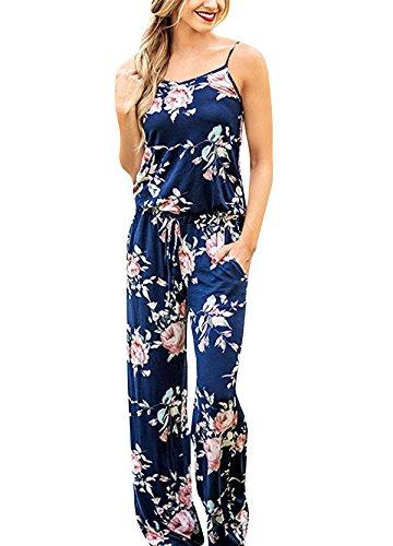 Yidarton Sommer Floral Bedruckte Jumpsuit Damen Halfter ärmellose breite Lange Hosen Jumpsuit Strampler, Blau, XL