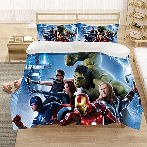 Bfrdollf Ropa de cama infantil de Marvel Avengers, funda nórdica 100 % microfibra, impresión digital 3D, 100 % algodón, con cremallera, ropa de cama infantil (2,140 x 210 cm)