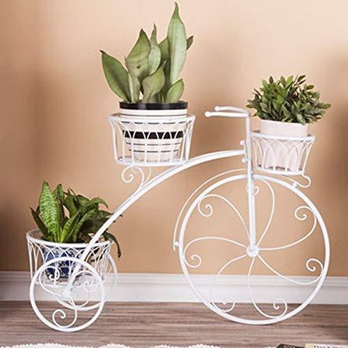 CLX Lagerung Vase Blumen-Wagen von Fahrrad im Support-Tricycle-Blumen-Metalltür Fahrrad Planter Dekorative Schmiedeeisen-Anlage im Garten, Terrasse, Veranda oder Innen,Weiß