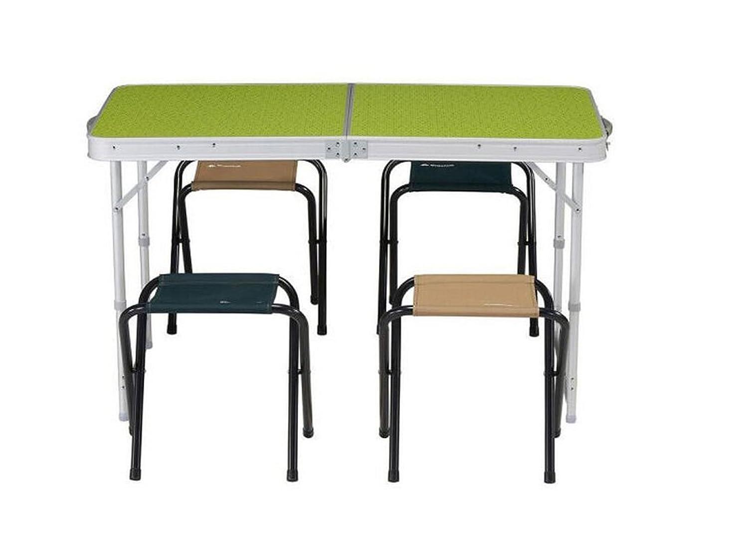 扱いやすい怖がらせるアサーラオハオ 屋外キャンプテーブル折りたたみテーブル屋外ポータブル折りたたみテーブルと椅子セット4-6人ブルー 表 (Color : Green)