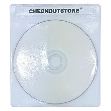 (100) CheckOutStore PREMIUM CD Double-sided Storage Plastic Sleeve (White)