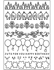 Cute Ducks Balloon Candle Flower Stars Clear Stamps for Card Making Scrapbooking Birthday Rubber Stamps