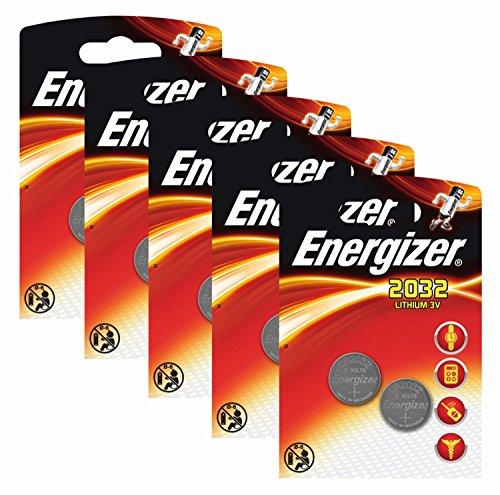 Energizer 637986SET Batteria originale a bottone, litio CR 2032, 3 V, 5 confezioni da 2 pezzi