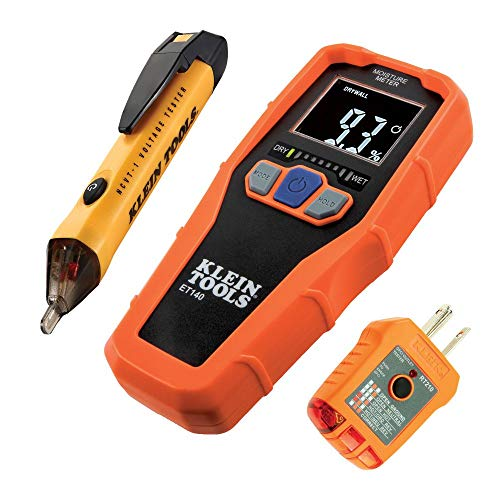 Klein Tools 80023 Tool Set, Home Inspector Tool Kit with Digital Moisture Meter, Non-Contact Voltage Tester, GFCI Outlet Tester, 3-Piece