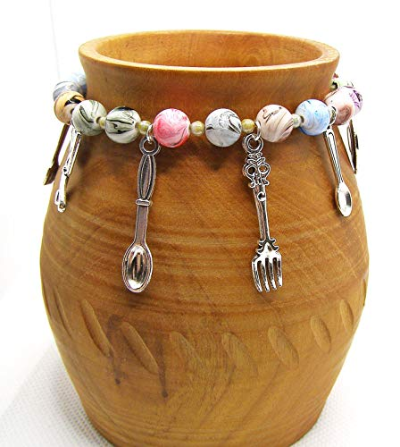 Cooks Charm Bracelet, Kitchen utensils and resin swirl beads, Handmade in Cornwall.