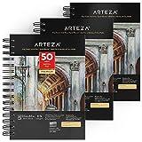 Arteza Blocs de dibujo con tono gris   14 x 21,6 cm   Paquete de 3   50 hojas x bloc   Papel de 120 gramos sin ácido   Encuadernados en espiral   Cuadernos de dibujo para grafito y lápices de colores