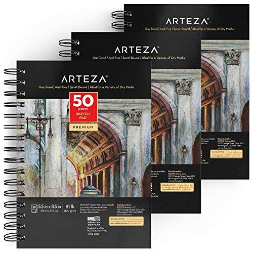 Arteza Skizzenblock, 14 x 21,6 cm, Malblock 3er-Packung mit Spiralbindung, graues Zeichenpapier, 50 Blätter Zeichenblock, schweres Papier 120 gsm, für viele trockene Medien