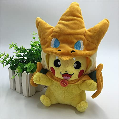 Pokémon Plush Pikachu Toys, with Smiley Face and MEGA Charizard 8.5 Poncho The Best Gift for Children (Yellow)