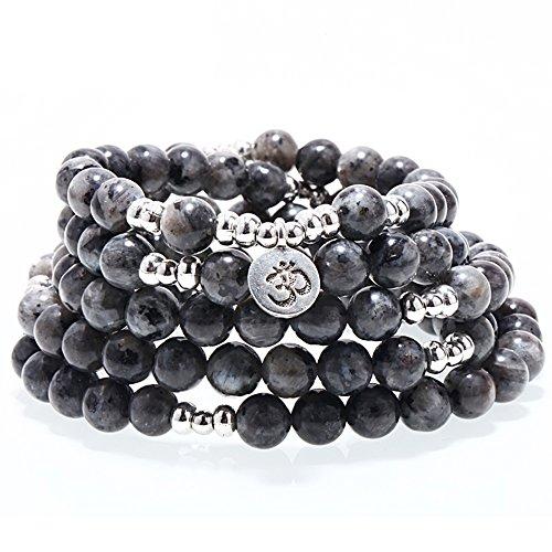 ZHEPIN 8MM 108 Mala Beads Charm Bracelet for Men Women Yoga Bracelet Necklace