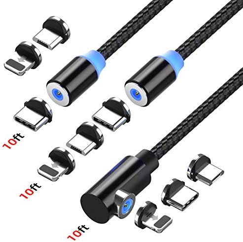 Magnetic Charging cable Ankndo USB Magnetic Cable 3 Pack 10ft 10ft 10ft 3 in 1 Magnetic Phone product image
