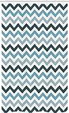 ABAKUHAUS Blau Schmaler Duschvorhang, Ozean-Zickzack-Chevron-Linie, Badezimmer Deko Set aus Stoff mit Haken, 120 x 180 cm, Hellblau Dunkelblau & Himmelblau