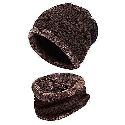 Cache-cou tricoté bonnet écharpe ensemble fourrure doublure en laine bonnets épais chaud en...