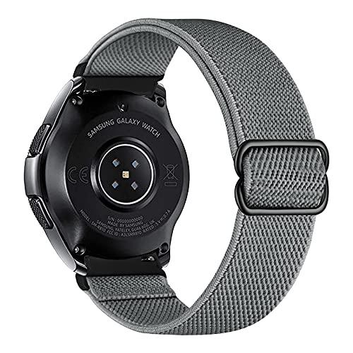 iBazal Correa de nailon trenzado, 22 mm, para Samsung Galaxy Watch 3, 45 mm, para reloj de pulsera de 46 mm, Gear S3 Frontier Classic, Huawei Watch GT 2, color gris (F)