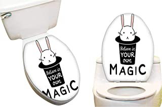 Toilet Seat Decal Believe in Your Own Magic Quite Print with Cute Rabbit in A Hat Toilet Vinyl Decal 12