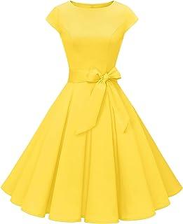comprar comparacion MUADRESS Mujer Vintage Vestido Cóctel Años 50 Vestido Retro Oscilación Estilo Clásico Cuello Redondo