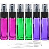 Juego de 6 botellas vacías de 10 ml con atomizador de vidrio de color de vidrio con pulverizador fino – Incluye 2 pipetas de transferencia, de Alledomain