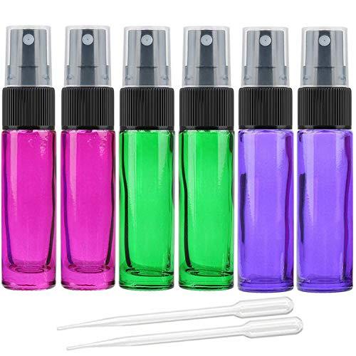 Alledomain Leere Sprühflasche, 10ml, 6 Stück, feiner Nebel, Glas, farbige Zerstäuber, Mini-Reiseflaschen-Set, mit 2 Pipetten