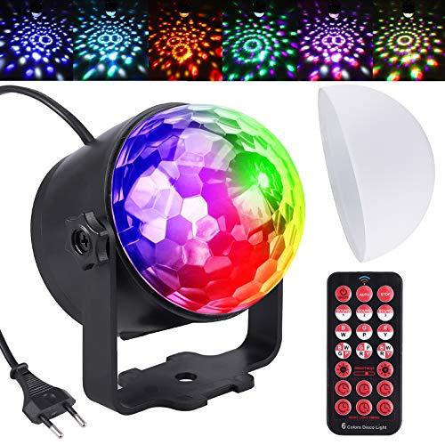 Justech Luce Discoteca Mini Luci da Palco Musica Controllata 6 Colori RGB Rotazione a 360 ° LED Luce Multicolore Lampada da Discoteca Rotante Sfera con IR Telecomando per DJ Bar Party Festa Compleanno