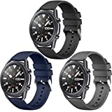 Easuny 22mm Watch Bands Compatible with Galaxy Watch 3 45mm Band, Quick Release Silicone Band for Samsung Watch 46mm / Gear S3 Frontier Women Men, 3 Pack of Black/Dark Blue/Space Gray Large