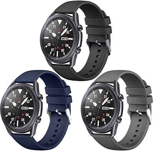 Easuny 22mm Watch Bands Compatible with Galaxy Watch 3 45mm Band, Quick Release Silicone Band for Samsung Watch Band 46mm /Galaxy Gear S3 Frontier Women Men, 3 Pack of Black/Dark Blue/Space Gray Large