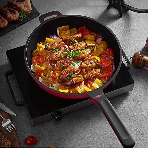 51 Kh4QMFYL. SL500  - NXYJD 30cm Antihaft-Wok Antihaft-Pfanne Ohne Ölrauch Unbeschichteter Haushalts-Wok-Pfanne Induktionstopf Küchentopf Kochtopf (Color : Red)