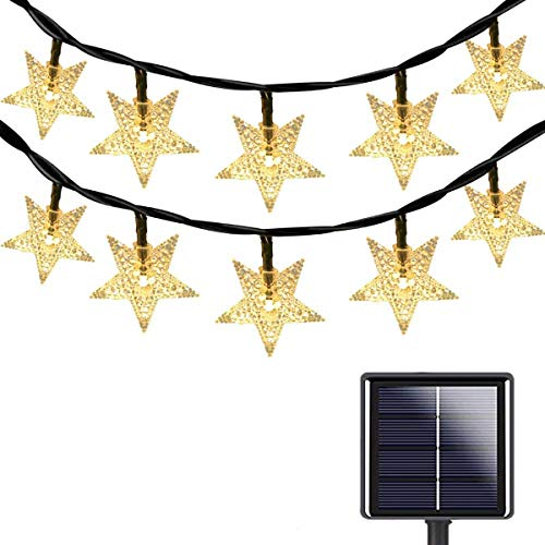 Estrella Solar Luces,KINGCOO Waterproof 23FT 50LED Guirnaldas luminosas Solares Hada Centelleo Luces de Cadena para Exterior Navidad Partido Casa Boda Jardín Decoración (Blanco cálido)