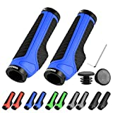 LYCAON Bike Fahrrad Griffe (Color-Blocking) Anti-Rutsch Fahrräder Fahrräder Lenker Griffe Passend für MTB/BMX/Mountain/Downhill/Klappbare/Urban Fahrräder/Scooter (Blau, Allgemeine Endkappen)