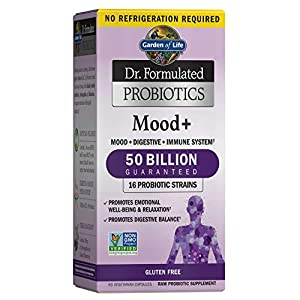 Garden of Life Dr. Formulated Probiotics Mood+ Acidophilus Probiotic Supplement - Promotes Relaxation and Digestive Balance - Ashwagandha for Stress Management - Non GMO, Gluten Free - 60 Veggie Caps