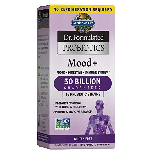 Garden of Life Dr. Formulated Probiotics Mood+ - Acidophilus Probiotic Supplement - Promotes Emotional Health, Relaxation, Digestive Balance, Gluten Free - 60 Vegetarian Capsules, Packaging May Vary