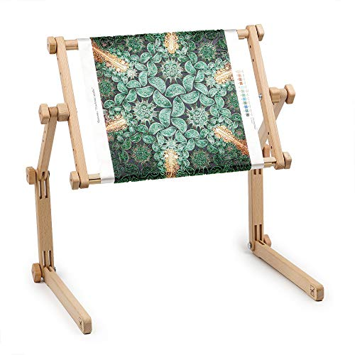 Needlework Table and Lap Hands-Free Stand with Adjustable Frame Made of Organic Beech Wood Tapestry...