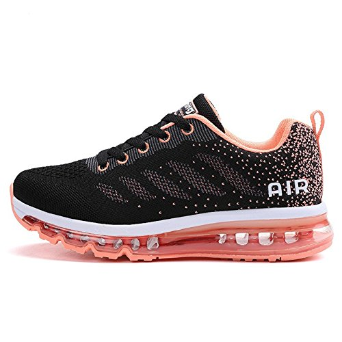frysen Herren Damen Sportschuhe Laufschuhe mit Luftpolster Turnschuhe Profilsohle Sneakers Leichte Schuhe Black Orange 40