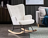 CIMOTA White Rocking Chair, Modern Velvet Armchair Tufted Wingback Comfy Rocker Chair with Thick Padded Seat for Nursery/Bedroom/Living Room, Cream