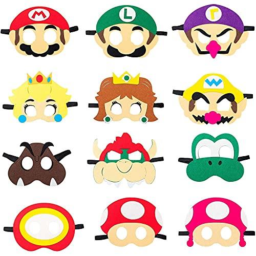 REDO 12 unidades de máscaras de Mario para cumpleaños, máscaras para niños, máscaras para Halloween, fiestas de disfraces