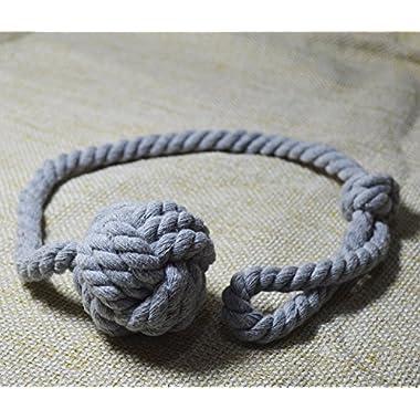 Baihoo Set of 2 Cotton Rope Knot Tie-backs, Drape Holdbacks, Curtain Tiebacks, Grey
