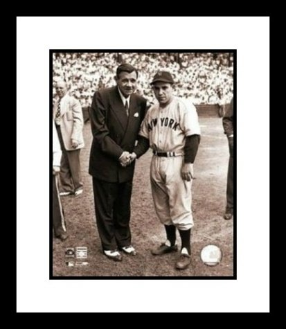 Babe Ruth New York Yankees MLB Framed 8x10 Photograph Shaking Hands with Yogi Berra