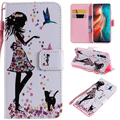 Miagon PU Cuir Coque pour Huawei P30,Coloré Motif Portefeuille Étui Housse Cover avec Stand Support Porte-Cartes de Crédit,Fille Chat Fleur