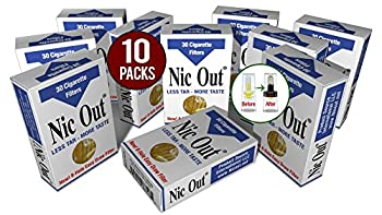 Nic-Out Cigarette Filters 10 Packs  300 Filters  Smoking Free Tar & Nicotine Disposable Nic-Out Holders for Smokers Don t Quit Smoking Nicfree