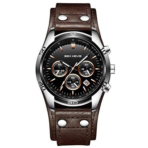 Uhren, Herrenuhren Braun Echtes Leder Chronograph Klassisch Mode Multi Zifferblatt Datumsanzeige Wasserdicht Analoge Quarz Männer Uhr mit Leder Armband