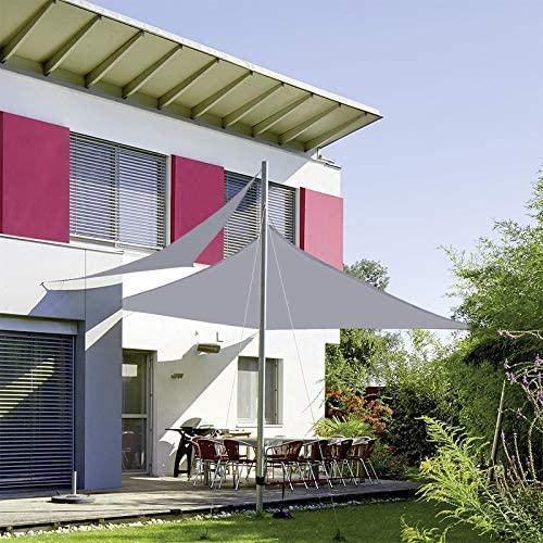XISENOCI Vela de Sombra Triangular Impermeable, 98% Anti UV Pérgola Refugio de Coche para Patio al Aire Libre, jardín, Invernadero, terraza y Lona de Sombra para Acampar, Gris-3.6X3.6X3.6m