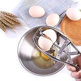 Quick Egg Shell Opener Egg Cracker,Stainless Steel Eggshell Cutter Egg Separator Creative Kitchen Tools (Silver)